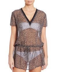 MICHAEL Michael Kors Multicolor Abstract Sheer Jaguar-print Cover-up