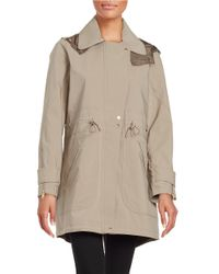 Vince Camuto - Gray Hooded Fishtail Anorak - Lyst