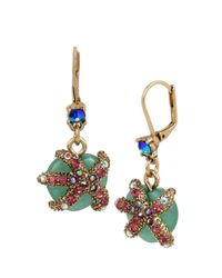 Betsey Johnson | Metallic Starfish Drop Earrings | Lyst
