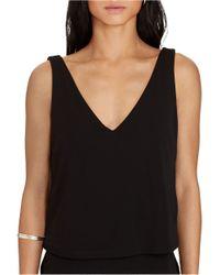 Lauren by Ralph Lauren - Black Layered Jersey V-back Dress - Lyst