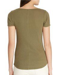 Lauren by Ralph Lauren - Green Drop-needle Cotton T-shirt - Lyst