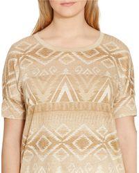 Lauren by Ralph Lauren - Multicolor Plus Patterned Linen Jersey Tee - Lyst