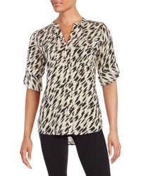 Calvin Klein | Multicolor Plus Patterned Zip Accented Blouse | Lyst
