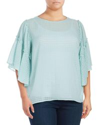 Vince Camuto - Blue Plus Textured Grid Blouse - Lyst