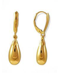 Lord & Taylor - Metallic 14k Gold Polished Drop Earrings - Lyst