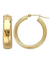 Lord & Taylor | Metallic 14k Yellow Gold Polished Hoop Earrings | Lyst
