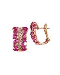 Effy | Metallic Ruby, Diamond And 14k Rose Gold Hoop Earrings, 0.55 Tcw | Lyst
