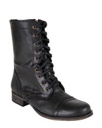 Steve Madden | Black Troopa Leather Combat Boots | Lyst