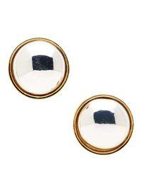 Lauren by Ralph Lauren | Blue Two-tone Button Stud Earrings | Lyst