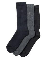 Polo Ralph Lauren | Blue Ribbed Crew Socks, 3-pack for Men | Lyst