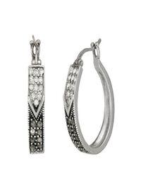 Lord & Taylor Metallic Sterling Silver And Marcasite Hoop Earrings