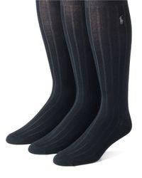 Polo Ralph Lauren | Blue 3-pack Mercerized Cotton Socks Set for Men | Lyst