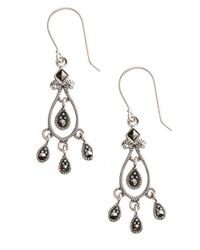 Lord & Taylor | Metallic Sterling Silver And Marcasite Chandelier Earrings | Lyst