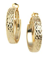Lord & Taylor | Metallic 18 Kt Gold Plated Engraved Wide Hoop Earrings | Lyst