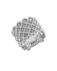 Michela | Metallic Rhinestone Accented Lattice Ring | Lyst