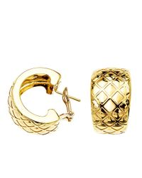 Lord & Taylor | 14 Kt. Yellow Gold Textured Huggies Earrings | Lyst