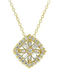 Lord & Taylor | Metallic Cubic Zirconia Flower Pendant Necklace | Lyst