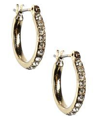 Anne Klein | Metallic 12 Kt Gold Plated Crystal Hoop Earrings | Lyst
