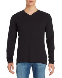 Calvin Klein | Black Ribbed Cotton V-neck Shirt for Men | Lyst