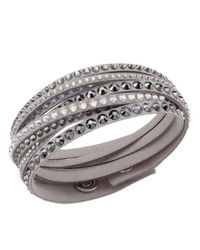 Swarovski - Gray Crystal-accented Layered Bracelet In Grey - Lyst