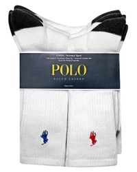 Polo Ralph Lauren   White Heel Toe And Arch Support Crew Socks Pack for Men   Lyst