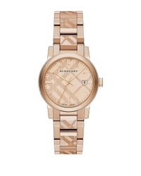 Burberry | Metallic Rose Goldtone Ip Stainless Steel Check Etched Bracelet Watch/34mm | Lyst