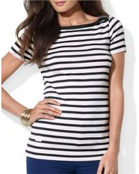 Lauren by Ralph Lauren | White Striped Bateau Shirt | Lyst