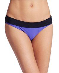 Nike | Blue Foldover Colorblocked Bikini Bottom | Lyst