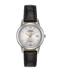 Citizen   Metallic Ladies Straps Eco-drive Stainless Steel Watch With Black Leather Strap   Lyst