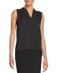 T Tahari | Black Sleeveless Hi-lo Blouse | Lyst