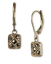 Judith Jack | Metallic Sterling Silver And Marcasite Square Drop Earrings | Lyst