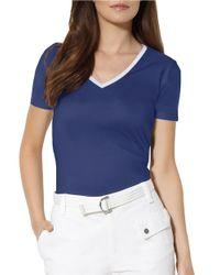 Lauren by Ralph Lauren | Blue Cotton V-neck Shirt | Lyst