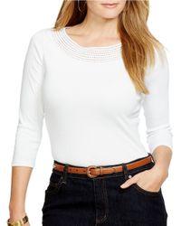Lauren by Ralph Lauren | White Plus Pointelle-knit Cotton Top | Lyst