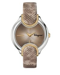 Ferragamo - Brown Diamond-accented Stainless Steel Embossed-leather Strap Watch, Fiz060015 - Lyst