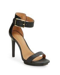 Calvin Klein | Natural Vable Textured Leather Platform Heels | Lyst