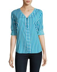 Calvin Klein | Blue Quarter-zip Striped Top | Lyst