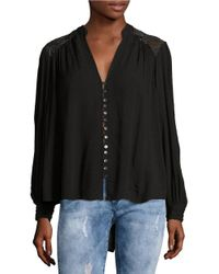 Free People | Black Canyon Rose Embroidered Button-front Blouse | Lyst