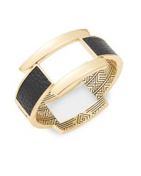 House of Harlow 1960 | Black Leather-accented Goldtone Bangle Bracelet | Lyst