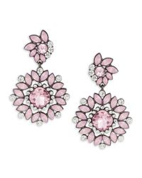 Lord & Taylor | Pink Crystal Flower Earrings | Lyst