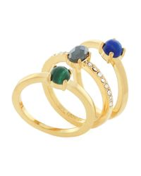 Botkier | Metallic Cubic Zirconia, Lapis Lazuli And 12k Gold-plated Ring- Set Of 3 | Lyst