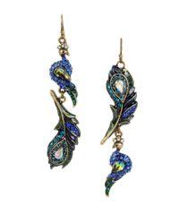 Betsey Johnson | Blue Peacock Mismatched Drop Earrings | Lyst