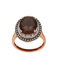 Lord & Taylor | Metallic Diamond, Smokey Quartz & 14k Rose-gold Ring | Lyst