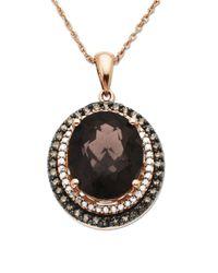 Lord & Taylor - Metallic Diamonds, Smokey Quartz And 14k Rose Gold Pendant Necklace - Lyst