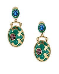 Oscar de la Renta | Green Crystal And Engraved Drop Clip-on Earrings | Lyst