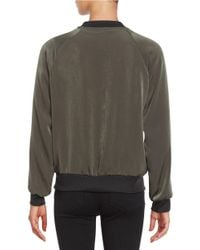 Lord & Taylor Green Floral-embroidered Bomber Jacket
