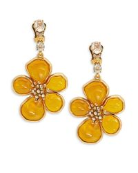 Oscar de la Renta | Yellow Crystal And Cabochon Flower Drop Earrings | Lyst