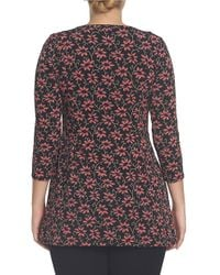 Chaus - Black Roaming Flower Print Hi-lo Top - Lyst