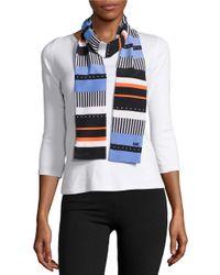 MICHAEL Michael Kors | Blue Contrast Striped Fashion Scarf | Lyst