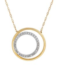 Lord & Taylor | Metallic Diamonds And 14k Yellow Gold Nested Circle Pendant Necklace | Lyst