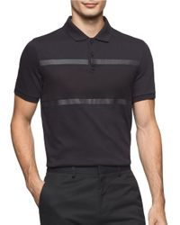 Calvin Klein | Black Jacquard Cotton Knit Polo for Men | Lyst